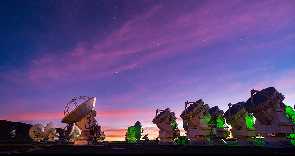 ALMA antennae at sunset