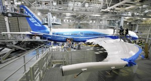 A Boeing 787 Dreamliner in the paint hangar of the company's facility in Everett, Wash., in 2009. (Elaine Thompson, AP).